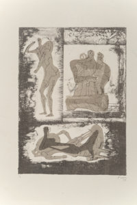 Henry Spencer Moore (1898-1986) Reclining & Standing Figure and Family Group, from Reclining Figures