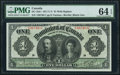 Canadian Currency, DC-18d-i $1 1911 PMG Choice Uncirculated 64 EPQ.. ...