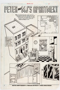 Don Perlin and Don Hudson Web of Spider-Man Annual #3 Peter and MJ's Apartment Pin Up Page 8 Original