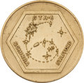 Explorers:Space Exploration, Gemini 6A Flown Gold-Colored Fliteline Medallion Directly from the Family Collection of Mission Commander Wally Schirra. ...