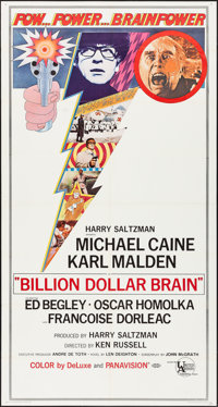"Billion Dollar Brain (United Artists, 1967). Folded, Very Fine. Three Sheet (41"" X 77""). Thriller"