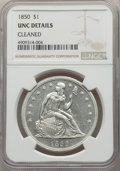 Seated Dollars, 1850 $1 -- Cleaned -- NGC Details. Unc. OC-1, R.3. Repunched 0....