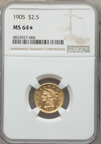1905 $2 1/2 MS64★ NGC. NGC Census: (1495/1139 and 2/4*). PCGS Population: (1440/1210 and 2/4*). MS64. Mintage 217,800...