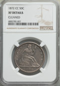 Seated Half Dollars, 1872-CC 50C -- Cleaned -- NGC Details. XF. NGC Census: (12/30). PCGS Population: (29/54). CDN: $1,800 Whsle. Bid for proble...