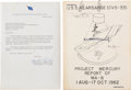 Explorers:Space Exploration, Mercury-Atlas 8 (Sigma 7): Wally Schirra's Owned and Signed Copy of MA-8 Kearsarge Report with Letter ...
