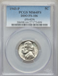 1943-P 5C Doubled Die Obverse, FS-106, MS64 Full Steps PCGS. (FS-029). PCGS Population: (2/5). NGC Census: (1/9)