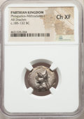Ancients:Oriental, Ancients: PARTHIAN KINGDOM. Mithradates I (164-132 BC). AR drachm (21mm, 12h). NGC Choice XF....