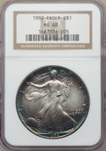 1992 $1 Silver Eagle MS68 NGC. NGC Census: (2388/100680). PCGS Population: (823/8558). Mintage 5,540,068....(PCGS# 9856)