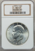 Eisenhower Dollars, 1972-S $1 SILVER MS67 NGC. NGC Census: (2347/470). PCGS Population: (8370/2097). CDN: $50 Whsle. Bid for problem-free NGC/P...