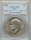 Eisenhower Dollars, 1976 $1 T1 MS65 PCGS. PCGS Population: (691/37). NGC Census: (287/20). CDN: $90 Whsle. Bid for problem-free NGC/PCGS MS65. ...