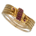 Estate Jewelry:Bracelets, Ruby, Gold Bracelet . ...