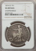 Trade Dollars, 1874-CC T$1 -- Chopmarked -- NGC Details. VG. PCGS Population: (0/126)....