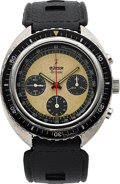 Timepieces:Wristwatch, LeJour, Tribune Reverse-Panda Divers Chronograph, Stainless Steel, Manual Wind, Circa 1970s. ...