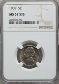 Jefferson Nickels, 1938 5C MS67 Full Steps NGC. PCGS Population: (33/0). CDN: $410 Whsle. Bid for problem-free NGC/PCGS MS6...