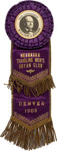 Political:Ribbons & Badges, William Jennings Bryan: Spectacular Massive 1908 Democratic Convention Badge....