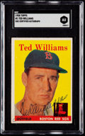 Autographs:Sports Cards, Signed 1958 Topps Ted Williams #1 SGC Authentic....