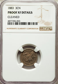1883 3CN -- Cleaned -- NGC Details. Proof XF. NGC Census: (3/1426). PCGS Population: (6/1877). Mintage 6,609....(PCGS# 3...