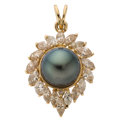 Estate Jewelry:Pendants and Lockets, Colored Diamond, Diamond, South Sea Cultured Pearl, Gold Pendant . ...