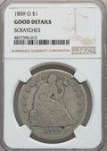 Seated Dollars, 1859-O $1 -- Scratches -- NGC Details. Good. NGC Census: (5/674). PCGS Population: (7/1118). Good 4 . Mintage 360,000....