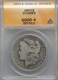 Morgan Dollars, 1893 $1 -- Cleaned -- ANACS. Good 4 Details. CDN: $105 Whsle. Bid for problem-free NGC/PCGS Good 4 . Mintage 389,792....