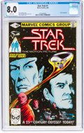 Modern Age (1980-Present):Science Fiction, Star Trek #1 (Marvel, 1980) CGC VF 8.0 White pages....