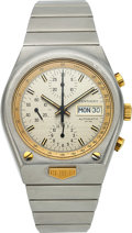Timepieces:Wristwatch, Heuer, Kentucky Chronograph, Stainless Steel and Yellow Gold, Automatic, Ref. 750.705, Circa 1970s . ...