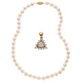 Estate Jewelry:Necklaces, Diamond, Cultured Pearl, Gold Enhancer-Necklace. ... (Total: 2 Items)