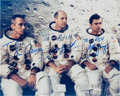 Explorers:Space Exploration, Apollo 10: Crew-Signed White Spacesuit Color Photo, with Photographic Provenance (Stafford) and Novaspace COA (Young)....