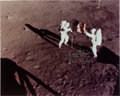 Explorers:Space Exploration, Buzz Aldrin Signed Apollo 11 Lunar Surface Flag Color Photo (Pictured with Neil Armstrong), with Novaspace COA. ...