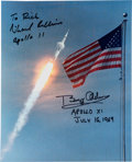 Explorers:Space Exploration, Apollo 11: Flag & Launch Color Photo Signed by Buzz Aldrin and Michael Collins, with Novaspace COAs. ...