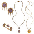 Estate Jewelry:Lots, Amethyst, Diamond, Cultured Pearl, Seed Pearl, Gold Jewelry. ... (Total: 4 Items)
