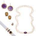 Estate Jewelry:Lots, Amethyst, Diamond, Freshwater Cultured Pearl, Gold Jewelry. ...(Total: 7 Items)