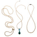 Estate Jewelry:Necklaces, Cultured Pearl, Multi-Stone, Diamond, Gold, Silver Necklaces. ... (Total: 3 Items)