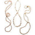 Estate Jewelry:Necklaces, Freshwater Cultured Pearl, Gold Necklaces. ... (Total: 3 Items)