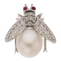 Estate Jewelry:Pendants and Lockets, South Sea Cultured Pearl, Diamond, Ruby, White Gold Enhancer. ...