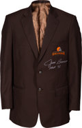 Football Collectibles:Uniforms, 2000's Paul Warfield Cleveland Browns Personal Ring of Honor Jacket Signed by Jim Brown....