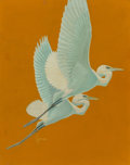 Fine Art - Painting, American, Francis Lee Jacques (American, 1887-1969). Great White Herons,The Saturday Evening Post cover, June 19, 1937. Oil on ca...