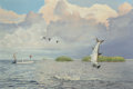 Fine Art - Painting, American, Peter Corbin (American, b. 1945). Tarpon's Tempest, 1989.Acrylic on canvas. 24 x 36 inches (61.0 x 91.4 cm). Signed and...