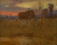 George Inness (American, 1825-1894) Afterglow on the Meadow, circa 1888-1892 Oil on canvas 12 x 1