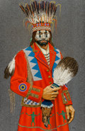 Paintings, Paul Pletka (American, b. 1946). Nazca Warrior, 1997. Acrylic on canvas. 68 x 44 inches (172.7 x 111.8 cm). Signed lower...
