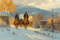 Fine Art - Painting, American, G. (Gerald Harvey Jones) Harvey (American, 1933-2017). TwoGenerations, 1983. Oil on canvas. 16 x 24 inches (40.6 x61.0...