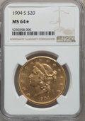 1904-S $20 MS64★ NGC. NGC Census: (3258/299 and 4/1*). PCGS Population: (3620/253 and 4/1*). MS64. Mintage 5,134,175...