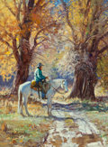 Fine Art - Painting, American, Martin Grelle (American, b. 1954). Autumn Reverie. Oil oncanvas. 16 x 12 inches (40.6 x 30.5 cm). Signed lower left:...