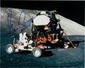 Explorers:Space Exploration, Gene Cernan Signed Apollo 17 Lunar Surface Color Photo, with Novagraphics COA....