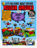 Memorabilia:Poster, Robert Crumb Let's Talk Sense about This Here Modern America Limited-Edition Poster #121/200 (Fantagraphics Books,...