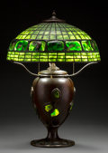 Glass:Tiffany, Tiffany Studios Leaded Glass, Turtleback Glass Tile, and Bronze Table Lamp. Circa 1910. Shade stamped TIFFANY ...