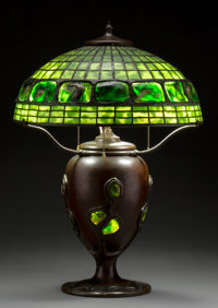 Tiffany Studios Leaded Glass, Turtleback Glass Tile, and Bronze Table Lamp Circa