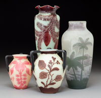 Four Loetz Cameo Glass Vases Retailed by J. Jouve Circa 1910. Cameo (various) Ht 9 in. (tallest)