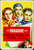 """Movie Posters:Hitchcock, The Paradine Case (Selznick, R-1950s). Folded, Fine+. Silk Screen International One Sheet (27"""" X 41""""). Hitchcock.. ..."""
