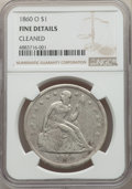 Seated Dollars, 1860-O $1 -- Cleaned -- NGC Details. Fine. NGC Census: (10/935). PCGS Population: (16/1566). Fine 12. Mintage 515,000....